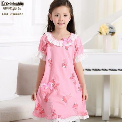 夏季女童睡裙儿童纯棉家居服亲子薄款公主裙宝宝女孩睡衣短袖睡裙