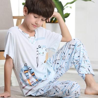 儿童睡衣夏季男童薄款莫代尔短袖长裤大童宝宝小孩夏天超薄家居服