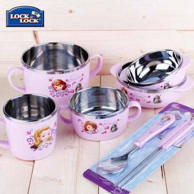 乐扣乐扣儿童卡通餐具套装 不锈钢隔热防摔宝宝碗水杯婴儿勺筷子