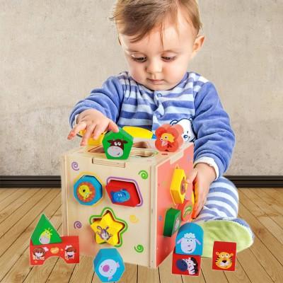 幼儿童早教几何形状配对婴儿积木制1-2-3岁宝宝益智玩具智力开发