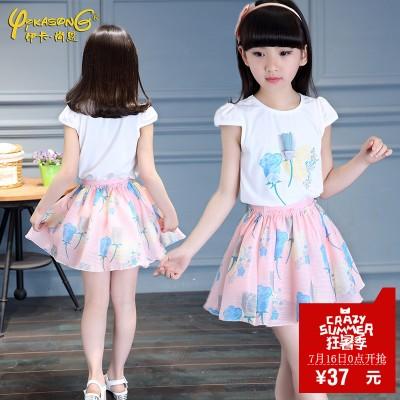 2016新款夏季童装韩版儿童套裙夏装女童公主套裙中大童两件套套装