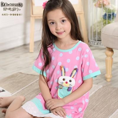 儿童睡衣夏季短袖纯棉女童睡裙中大童小女孩公主宝宝家居服连衣裙