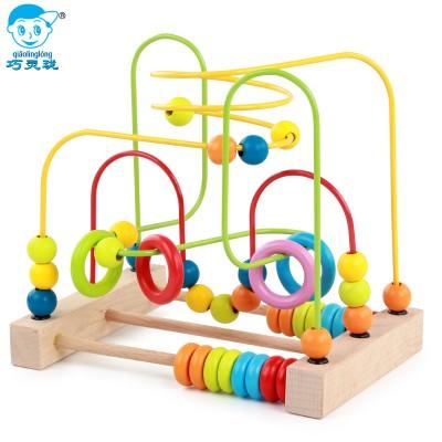 巧灵珑大号儿童绕珠串珠宝宝儿童积木制早教益智玩具1-2-3-6周岁