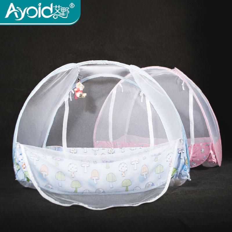 艾野婴儿床蚊帐宝宝蚊帐罩bb儿童免安装可折叠蒙古包有底圆顶un门