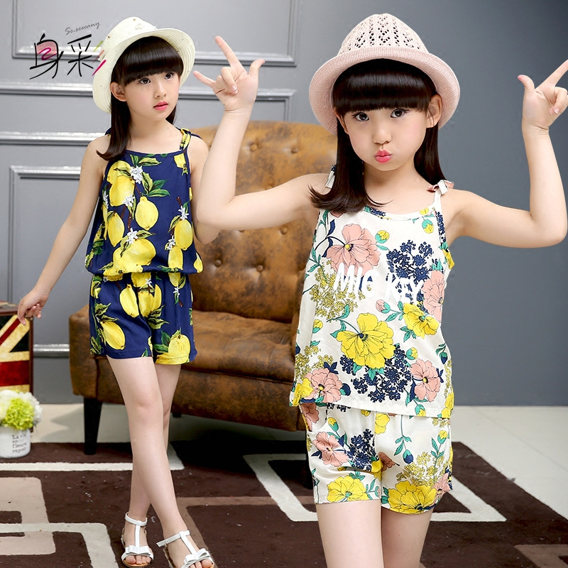童装女童夏装2016新款休闲宝宝套装小女孩儿童背心吊带衣服两件套